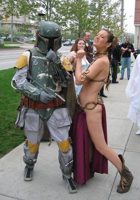 I Need To Start By Saying The Boba Fet Costume Kicks Ass But More Importantly I Think I Can Speak For Any Man Ages  And Say I Love Love